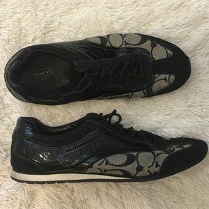 Coach Black Patent Signature Sneakers Tennis Shoes